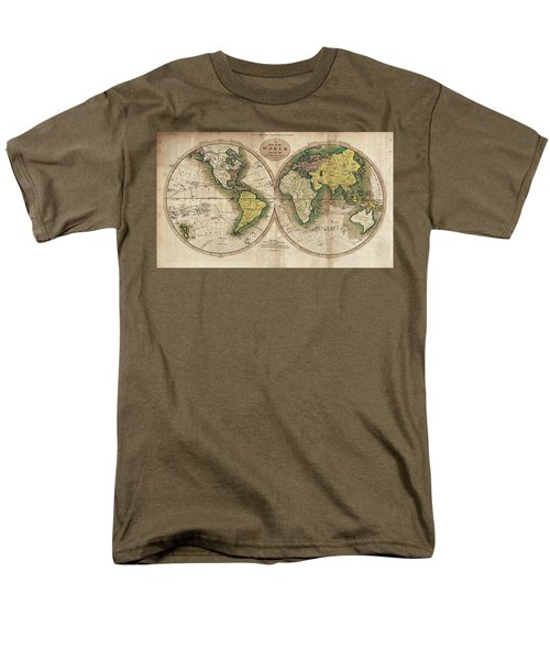Men's T-Shirt  (Regular Fit) featuring the photograph Carey's Map Of The World  1795 by Daniel Hagerman