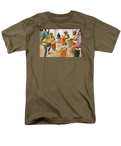 Men's T-Shirt  (Regular Fit) featuring the painting Caribbean Scenes - Folk Drummers by Wayne Pascall