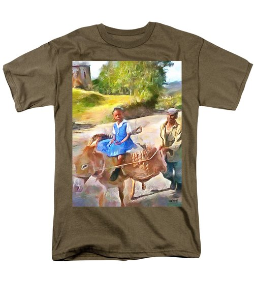 Caribbean Scenes - School In De Country Men's T-Shirt  (Regular Fit) by Wayne Pascall