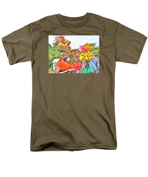Men's T-Shirt  (Regular Fit) featuring the painting Caribbean Scenes - Headstrong Women by Wayne Pascall