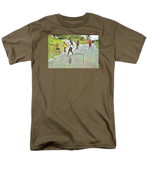 Men's T-Shirt  (Regular Fit) featuring the painting Caribbean Scenes - Small Goal In De Street by Wayne Pascall