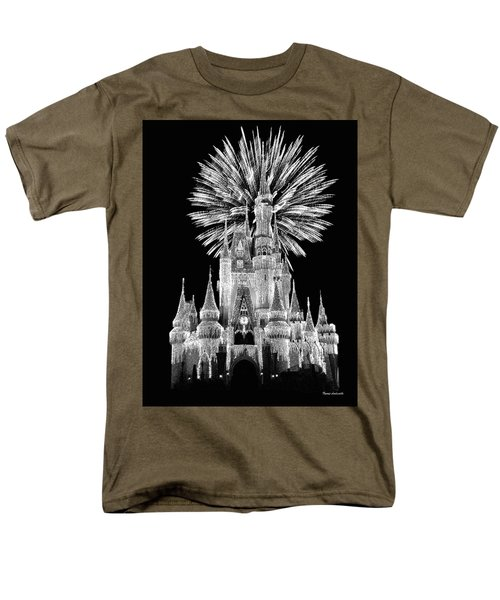 Castle With Fireworks In Black And White Walt Disney World Mp Men's T-Shirt  (Regular Fit) by Thomas Woolworth