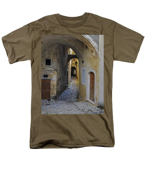 Men's T-Shirt  (Regular Fit) featuring the photograph Cat On A Quiet Street In Viviers by Allen Sheffield