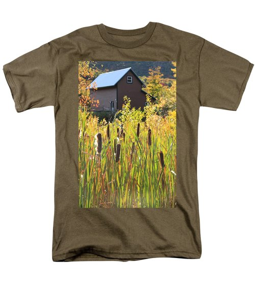 Cattails And Barn Men's T-Shirt  (Regular Fit) by Roupen  Baker