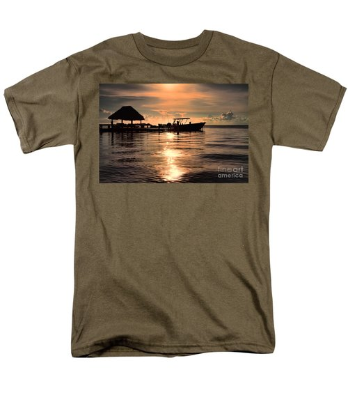 Men's T-Shirt  (Regular Fit) featuring the photograph Caye Caulker At Sunset by Lawrence Burry