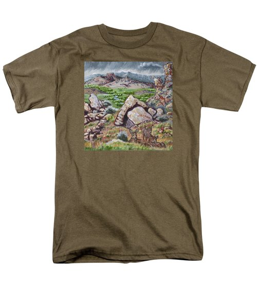 Men's T-Shirt  (Regular Fit) featuring the painting Cedar Breaks View With Mule Deer by Dawn Senior-Trask
