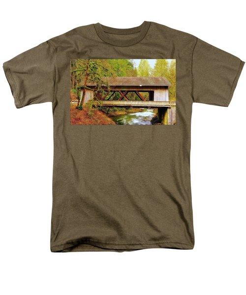 Cedar Creek Grist Mill Covered Bridge Men's T-Shirt  (Regular Fit) by Steve Warnstaff