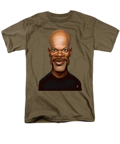 Men's T-Shirt  (Regular Fit) featuring the drawing Celebrity Sunday - Samuel L Jackson by Rob Snow