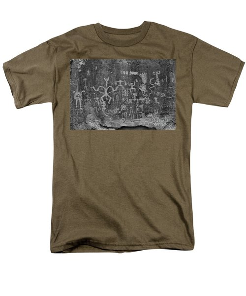 Men's T-Shirt  (Regular Fit) featuring the photograph Chaco Canyon Petroglyphs Black And White by Adam Jewell