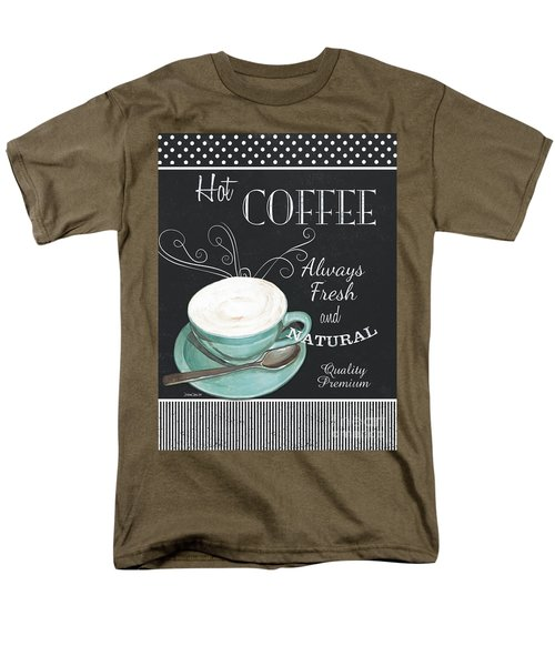 Men's T-Shirt  (Regular Fit) featuring the painting Chalkboard Retro Coffee Shop 1 by Debbie DeWitt