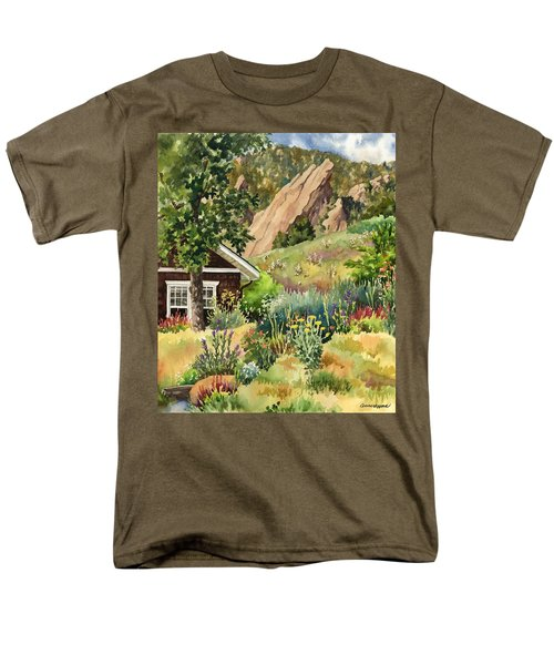 Men's T-Shirt  (Regular Fit) featuring the painting Chautauqua Cottage by Anne Gifford