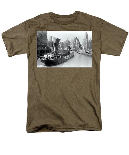 Men's T-Shirt  (Regular Fit) featuring the photograph Chicago Draw Bridge 1941 by Daniel Hagerman