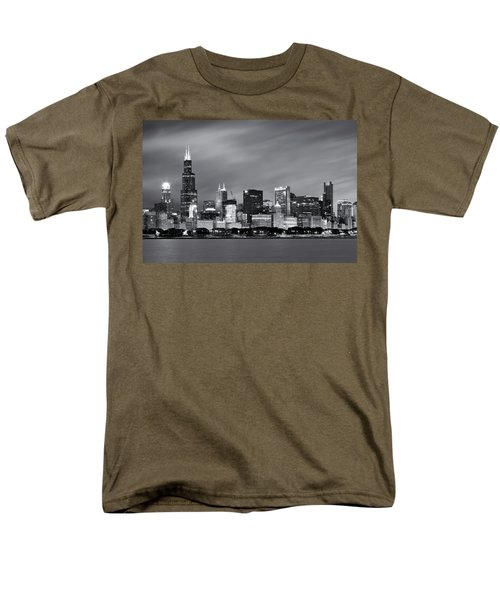 Men's T-Shirt  (Regular Fit) featuring the photograph Chicago Skyline At Night Black And White  by Adam Romanowicz
