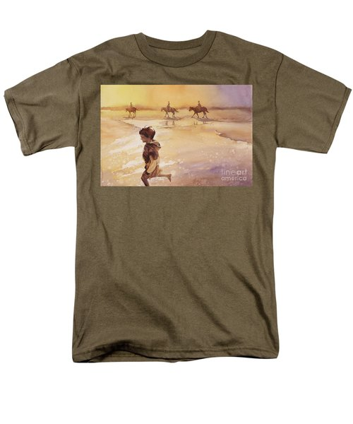 Men's T-Shirt  (Regular Fit) featuring the painting Child On Beach- Ocracoke Island, Nc by Ryan Fox
