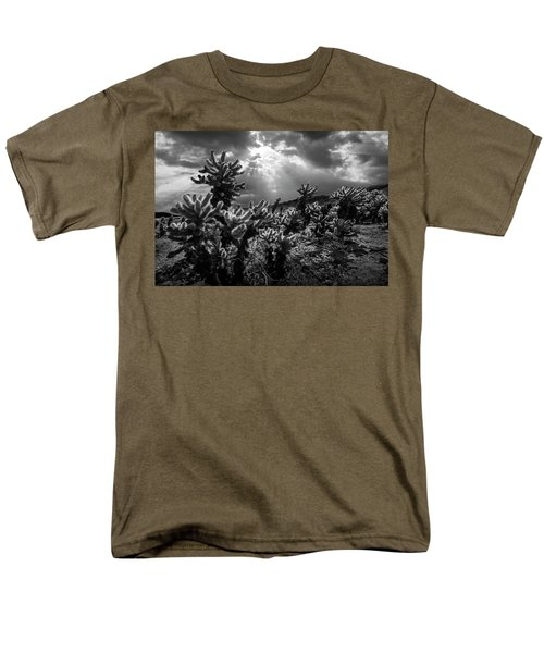 Men's T-Shirt  (Regular Fit) featuring the photograph Cholla Cactus Garden Bathed In Sunlight In Black And White by Randall Nyhof