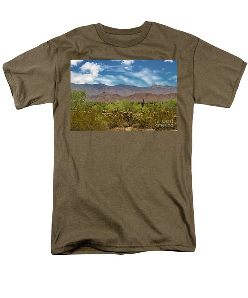 Men's T-Shirt  (Regular Fit) featuring the photograph Cholla Saguaro And The Mountains by Anne Rodkin