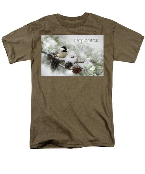 Men's T-Shirt  (Regular Fit) featuring the photograph Christmas Chickadee by Lori Deiter
