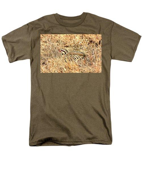 Chuckar Bird Hiding In Grass Men's T-Shirt  (Regular Fit) by Sheila Brown