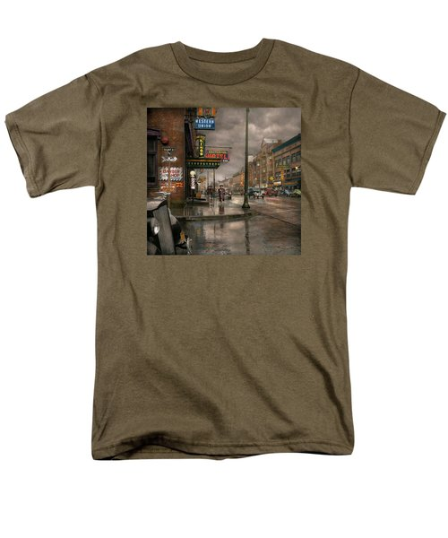 City - Amsterdam Ny -  Call 666 For Taxi 1941 Men's T-Shirt  (Regular Fit) by Mike Savad
