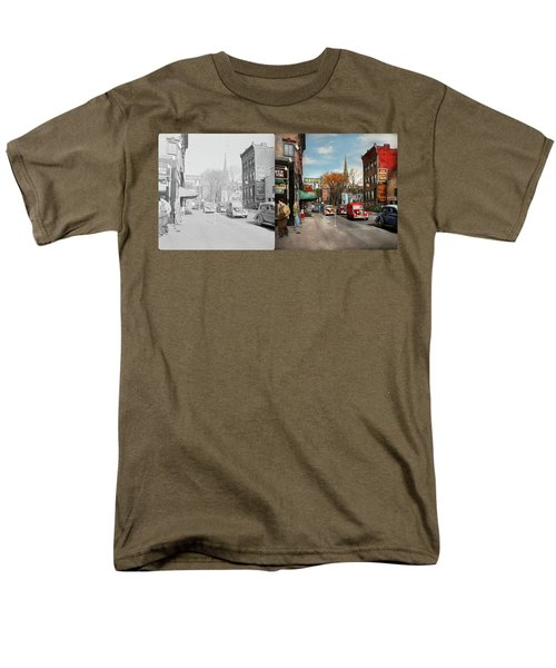 Men's T-Shirt  (Regular Fit) featuring the photograph City - Amsterdam Ny - Downtown Amsterdam 1941- Side By Side by Mike Savad