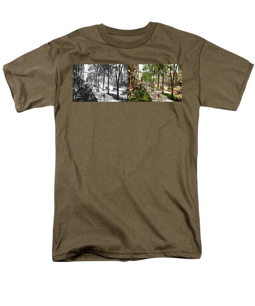 Men's T-Shirt  (Regular Fit) featuring the photograph City - Saratoga Ny -  I Would Love To Be On Broadway 1915 - Side By Side by Mike Savad