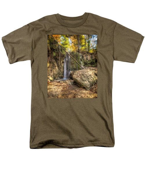 Men's T-Shirt  (Regular Fit) featuring the photograph Clark Creek Nature Area Waterfall No. 1 by Andy Crawford