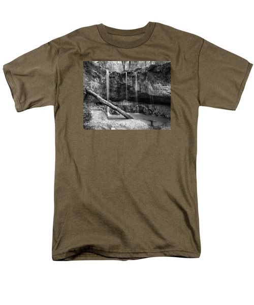 Men's T-Shirt  (Regular Fit) featuring the photograph Clark Creek Nature Area Waterfall No. 2 In Black And White by Andy Crawford