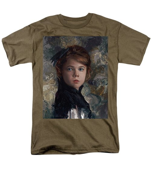 Men's T-Shirt  (Regular Fit) featuring the painting Classical Portrait Of Young Girl In Victorian Dress by Karen Whitworth