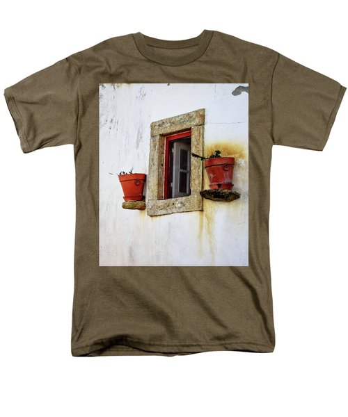 Men's T-Shirt  (Regular Fit) featuring the photograph Clay Pots In A Portuguese Village by Marion McCristall