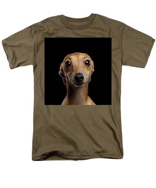 Closeup Portrait Italian Greyhound Dog Looking In Camera Isolated Black Men's T-Shirt  (Regular Fit) by Sergey Taran