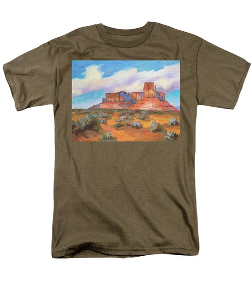 Men's T-Shirt  (Regular Fit) featuring the painting Clouds Passing Monument Valley by Diane McClary