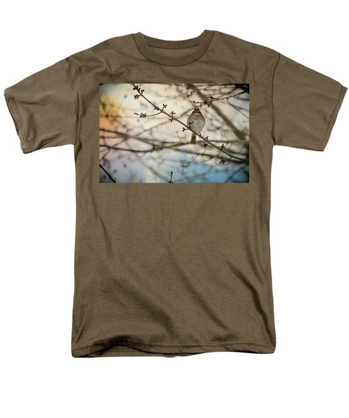 Men's T-Shirt  (Regular Fit) featuring the photograph Cloudy Finch by Trish Tritz