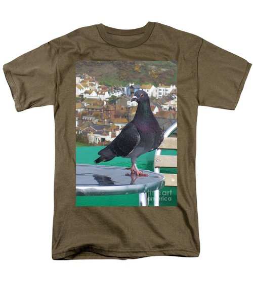 Men's T-Shirt  (Regular Fit) featuring the photograph Coffee Shop Pigeon by Jolanta Anna Karolska