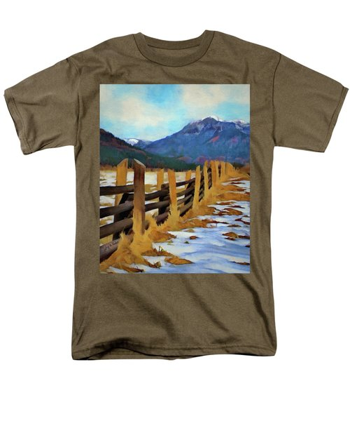 Men's T-Shirt  (Regular Fit) featuring the painting Colorado Fence Line  by Jeff Kolker