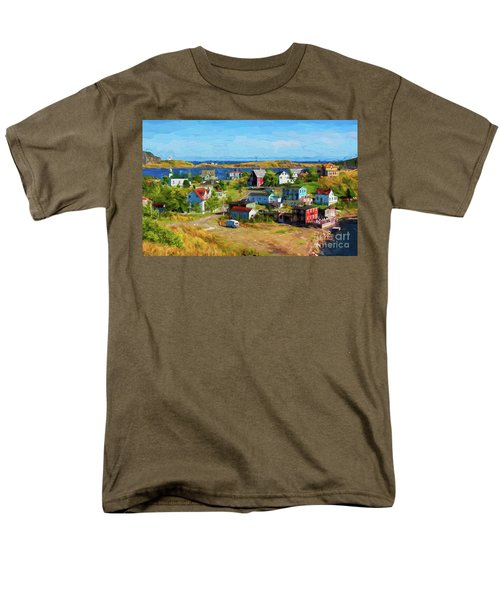 Colorful Homes In Trinity, Newfoundland - Painterly Men's T-Shirt  (Regular Fit) by Les Palenik