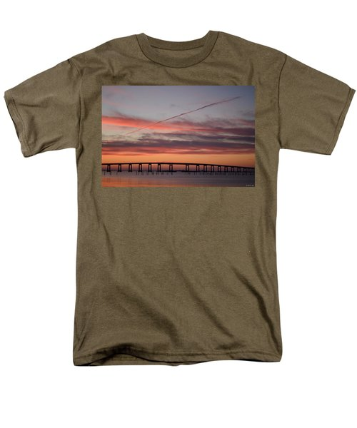 Colorful Sunrise Over Navarre Beach Bridge Men's T-Shirt  (Regular Fit) by Jeff at JSJ Photography