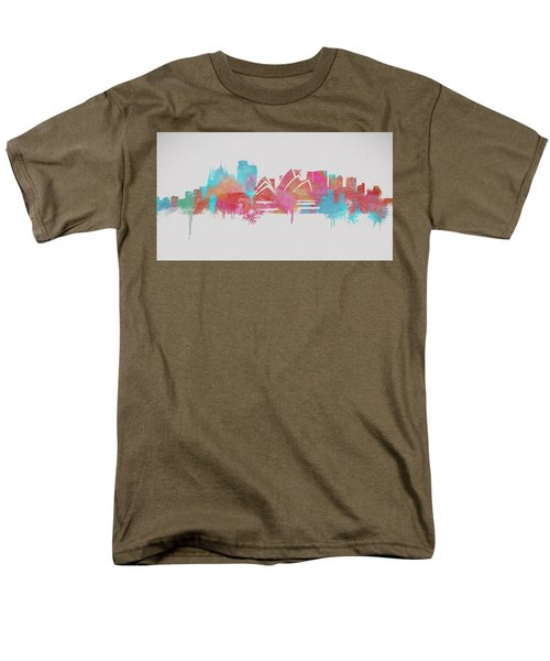 Colorful Sydney Skyline Silhouette Men's T-Shirt  (Regular Fit)