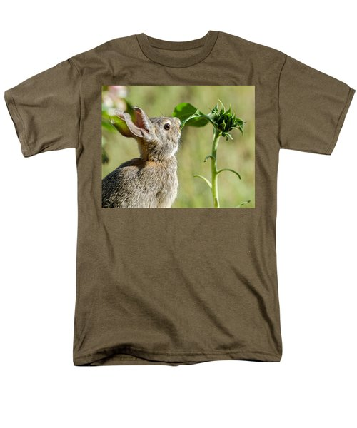 Cottontail Rabbit Eating A Sunflower Leaf Men's T-Shirt  (Regular Fit) by John Brink
