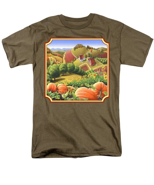 Country Landscape - Appalachian Pumpkin Patch - Country Farm Life - Square Format Men's T-Shirt  (Regular Fit) by Walt Curlee