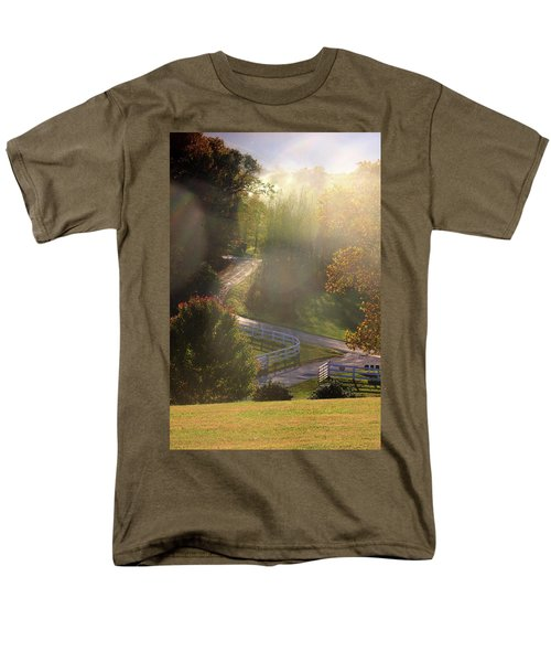 Men's T-Shirt  (Regular Fit) featuring the photograph Country Road In Rural Virginia, With Trees Changing Colors In Autumn by Emanuel Tanjala