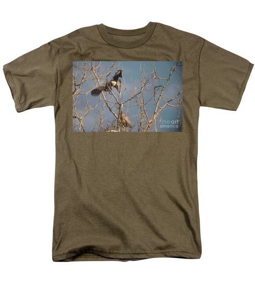 Men's T-Shirt  (Regular Fit) featuring the photograph Courtship Ritual Of The Great Blue Heron by David Bearden