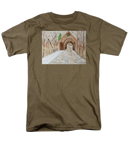 Men's T-Shirt  (Regular Fit) featuring the painting Covered Bridge by Denise Tomasura