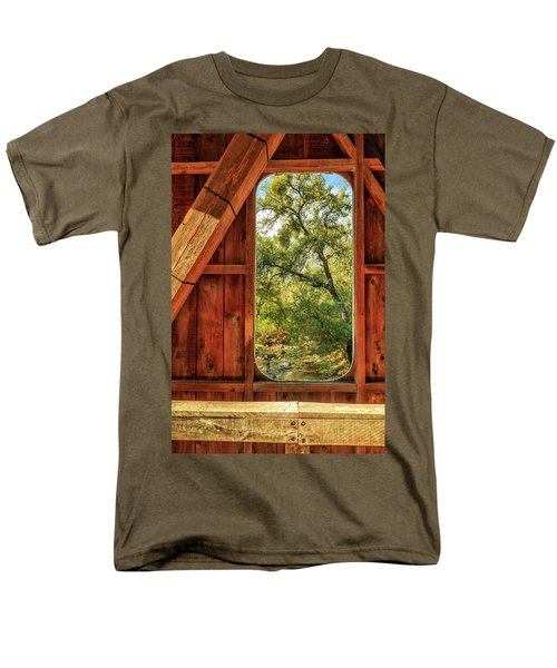 Men's T-Shirt  (Regular Fit) featuring the photograph Covered Bridge Window by James Eddy