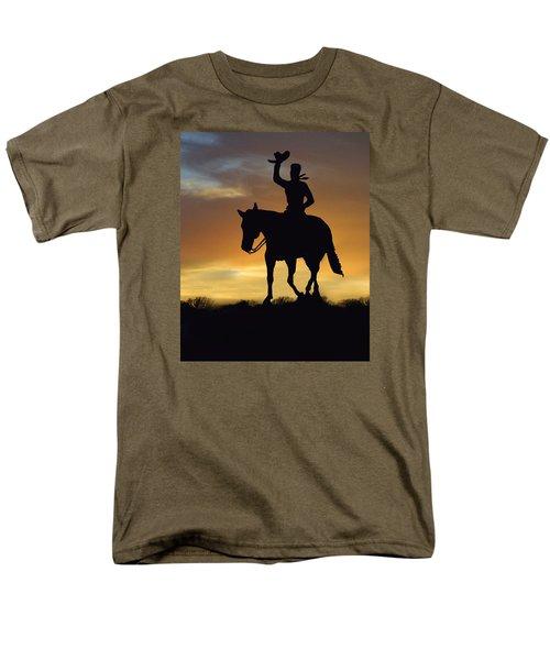 Cowboy Slilouette Men's T-Shirt  (Regular Fit) by Linda Phelps