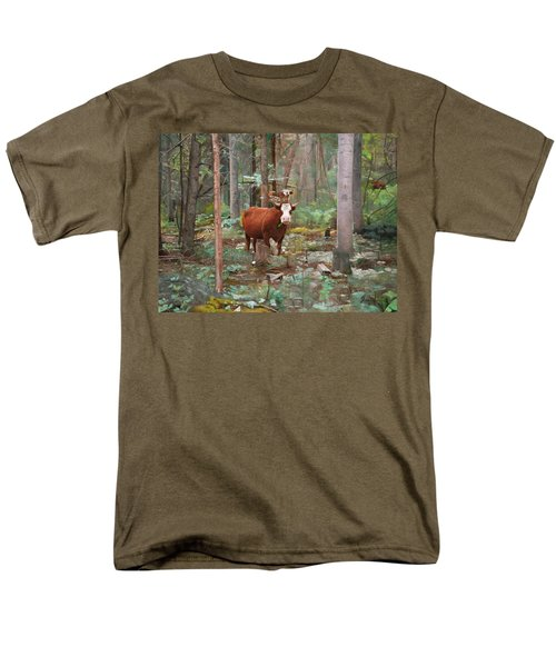 Men's T-Shirt  (Regular Fit) featuring the painting Cows In The Woods by Joshua Martin