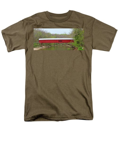 Men's T-Shirt  (Regular Fit) featuring the photograph Cox Ford Covered Bridge - Sideview by Harold Rau