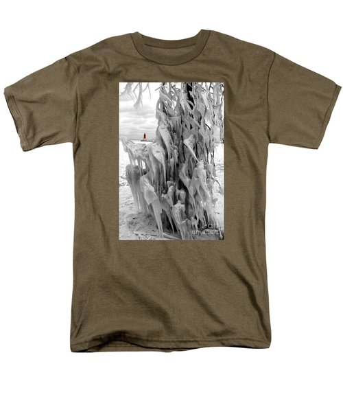 Men's T-Shirt  (Regular Fit) featuring the photograph Cradled In Ice - Menominee North Pier Lighthouse by Mark J Seefeldt