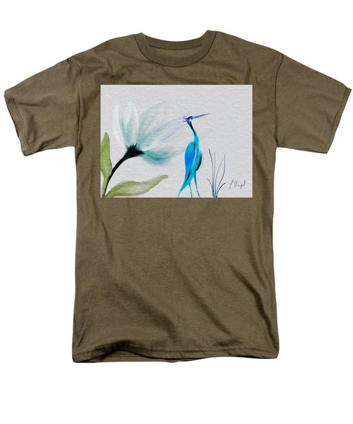 Crane And Flower Abstract Men's T-Shirt  (Regular Fit) by Frank Bright