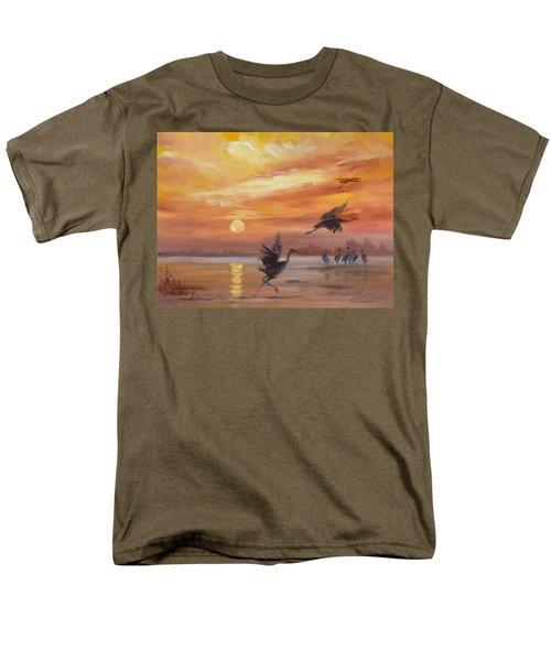 Cranes - Golden Sunset Men's T-Shirt  (Regular Fit)