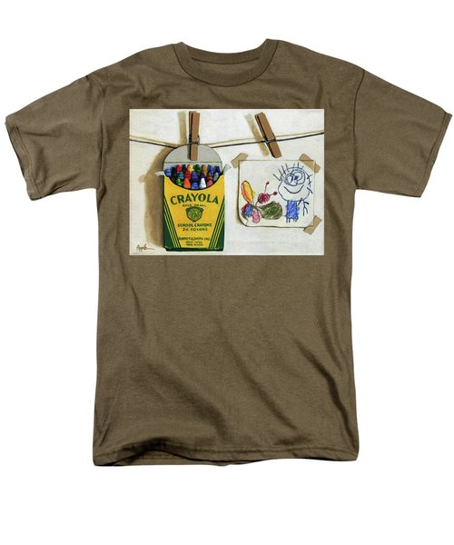 Crayola Crayons And Drawing Realistic Still Life Painting Men's T-Shirt  (Regular Fit) by Linda Apple